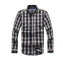 Wholesale Men Clothes Usa - 18 Autumn top quality plaid lapel men's long sleeve Cotton Shirt Men USA Brand POLO Shirts 100% Oxford Casual Shirt Small Horse Clothes