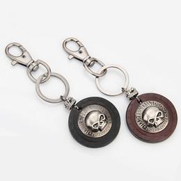 Wholesale Skull Keychains - Black Brown Antique Design Skull Leather Keychain Keyring - Key Chain Ring Holder For Cowboy Rider - Women Fashion Punk Bag Pendant