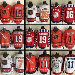 Wholesale Bobby Clarke Jersey - men's All Star hockey jerseys cheap #1 bernie parent #7 Paul Coffey #11 Mark Messier #16 Bobby Clarke #19 Bryan Trottier Ice Hockey Jersey
