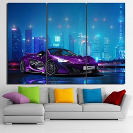Wholesale Cars Ny - 3 Pcs Canvas Art Mclaren Luxury Car Poster HD Printed Wall Art Home Decor Canvas Painting Picture Prints Free Shipping NY-6596A