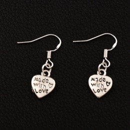 Wholesale making hooks - Made With Love Heart Earrings 925 Silver Fish Ear Hook 40pairs lot Antique Silver Chandelier E319 10x29.5mm