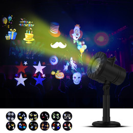 Wholesale Holiday Snowflakes - Halloween Christmas Outdoor Night Snowflakes Projector Light Decorations 12 Slides LED Moving Landscape Spotlights Party Holiday Festival