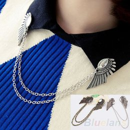 Wholesale Wings Collar Clip - Wholesale- Retro Collar Clip Punk chain Blouse Shirt angel Wing Tips pin brooch boho tassel 88A2