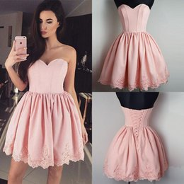 Wholesale China Bandage Dress - Pretty Pink Short Homecoming Dresses Lace-up Back Pleats Lace Sweetheart Mini Cocktail Dresses Special Occasion Gowns Free Shipping China