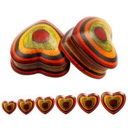 Wholesale Designed Body Jewelry - 2017 new wood heart design piercing body jewelry ear plugs colorful ear tunnesl mix size wholesale