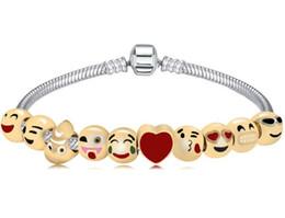 Wholesale Gold Bracelets For Kids - New Cute Enamel Emoji Bracelets for kids Love Heart 10 Beads Charms Bracelets & Bangles for Women DIY Pulseras Jewelry AA106