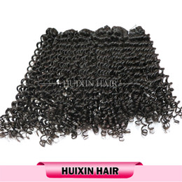 Wholesale Tight Curly Natural Hair Weave - HUIXIN 3Bundles Lot 8inch to 34inch Indian Hair Tight Curly Weaves Natural Black Color Human Indian Hair Free Shipping