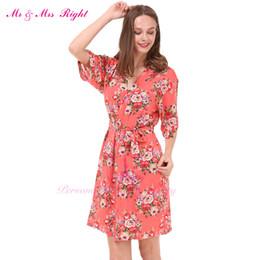 Wholesale Good Pajamas - Wholesale- Hot Sell Cotton Printed Flower Robe For Wedding Party Gown Bathrobe Girl's Soft Nightown Pajamas Good Feeling Kimono