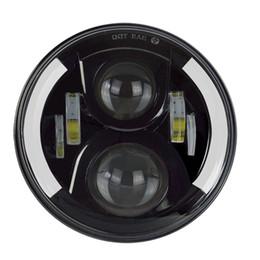 Wholesale Led Eye Amber - CarBest 7 Inch Round Cree LED Headlights White Halo Ring Angel Eyes+Amber Turning Signal Lights For Jeep Wrangler 7510FA