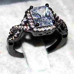 schwarze diamantprinzessin geschnittene ringe Rabatt Ewige 925 Sterling SilberSchwarzer Goldring Schmuck Prinzessin-Cut 6CT weißer Topaz Diamant Edelstein Ringe Finger Ehering Ring für Frauen