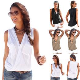 Wholesale Lace Pocket Womens Shorts - 2017 Summer Shirts Womens Blouses Sexy Sleeveless Double Pocket Blusas Shirts Femininos V Neck Tops Casual Fashion Blouse M0156