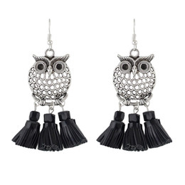 Wholesale Bundle Plates - New Style Silver Color Owl Jewelry Hanging Earrings Three Bundles With PU leather Tassel Drop Earrings for Women
