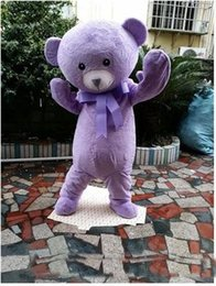 Wholesale Teddy Bear Adult Mascot - 2017 High quality cakes teddy bear mascot animal costume purple lavender mascot bear clothing adult cartoon mascot for Halloween