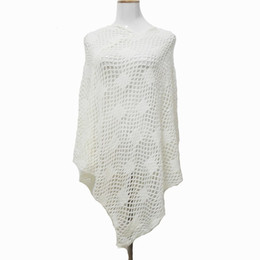 Wholesale White Crochet Scarf - 7 Colors 2017 Spring Girl Dress Luxury White Crochet Poncho Women Fashion Scarf Shawl Poncho wraps accessories