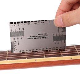 Wholesale Measuring Guide - Guitar String Action Gauge Steel Ruler Guide Setup Guitar Measuring Fork Bass Luthier Tool Guitar Parts