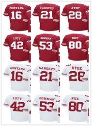 Wholesale San Francisco Footballs - Men 4XL San Francisco football Jersey 16 Joe Montana 21 Deion Sanders 28 Carlos Hyde 42 Ronnie Lott 53 NaVorro Bowman 80 Jerry Rice