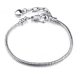 Wholesale Sterling Silver Rope Chain 3mm - Factory Wholesale 925 Sterling Silver Bracelets 3mm Snake Chain Fit Pandora Charm Bead Bangle Bracelet Jewelry Gift For Men Women KKA1155