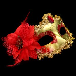 Wholesale Wholesale Toy Flowers - Venetian Face Mask Fashion Lily Flower Crystal Rhinestones Decor Venetian Lace Face Mask for Halloween Masquerade Costume Party