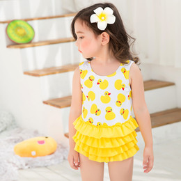 Wholesale Tutu Swimwear - New Cartoon Girl's Swim Sets Princess Girls Swimwear Swimming Cute Little Ducks Tutu One-Pieces + Swim Caps Set Yellow A6053
