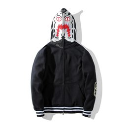 Wholesale Fleece Black Jacket - 2017 Autumn Winter Luminous Tiger Shark High-density Knitted Embroidery Hoodie Men Women Zipper Cardigan Sweatshirt Jacket Sizes S-2XL