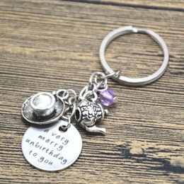 Wholesale Girls Jewlery - 12pcs lot Alice in Wonderland inspired unbirthday keyring A very merry unbirthday to you Tea Party Fairytale Jewlery