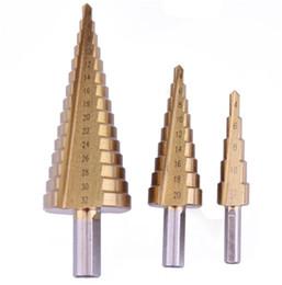 Wholesale Steel Bits - High Quality 3pcs Triangle Shank Step Drill Bit Pagoda Drill Bits Ladder Drill Hand Tools 4-12 4-20 4-32