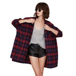 Wholesale Classic Ladies Blouses - European Fashion Blouse 2017 New Arrival Classic Plaid Shirt Women High Quality Ladies Long Shirts Brand Blouses Loose Tops ST118