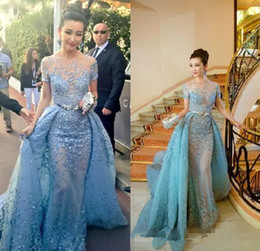 Wholesale Cannes Celebrity - Cannes Film Festival Zuhair Murad Celebrity Dresses With Detachable Train Sheer Neck Mermaid Evening Dress Red Carpet Short Sleeve Prom Gown