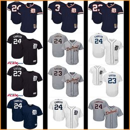 Wholesale Miguel Cabrera Tigers - 2017 new Men's baseball Detroit Tigers jerseys #24 Miguel Cabrera 23# Kirk Gibson 3# Alan Trammell Throwback jersey 100% stitched