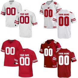 Wholesale Russell Football Jersey - Custom Wisconsin Badgers College Football Jersey White Red Personalized Stitched Any Name Any Number #16 Russell Wilson NCAA Cheap Jerseys