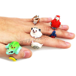 Wholesale Funny Parrots - Wholesale- YYW animal Wedding bend ring funny lady trency women 3D animal ring Hedgehog Ring Panda Dog Rings women Tiger Lizard Bear Parrot