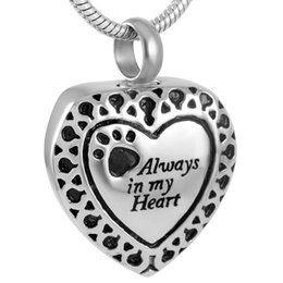 Wholesale Rhinestone Pendant Charm Pet - IJD9188 Always in My Heart Pet Stainless Steel Cremation Pendant Necklace Heart Memory Ashes Keepsake Urn Necklace
