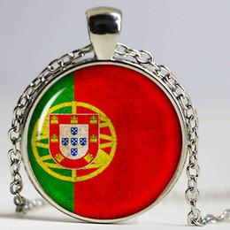 2019 banderas de portugal Nuevo diseño de la bandera colgante Photo Portugal Flag Glass Dome colgante de plata Collares de cadena de bronce banderas de portugal baratos