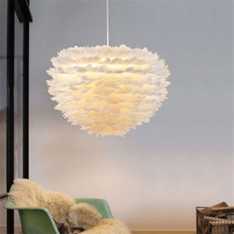 Wholesale Feather Pendant Lamp - Wholesale white Vita feather pendant light pendant lamp warm creative personality led super bright bedroom lights restaurant wedding room