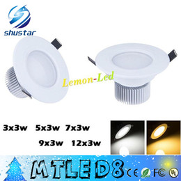 "Wholesale bathroom ceiling light fixtures - Free ship White 2.5"" 3""  4"" Recessed Led Downlights 9W 15W 21W 27W 36W Dimmable Cool Warm White Led Fixture Ceiling Light 110-240V + Drivers"