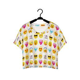 Wholesale Girls Clothes Size Cheap - Wholesale-2016 Top Summer funny Short shirts Tops Women 3D QQ Emoji Smile Face Printed Vest Girls short t shirts Cheap Clothes plus size