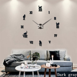 2019 panneau marcheur Promotion 2019 horloge murale grand miroir chaud design moderne, horloge murale bricolage grande taille 3d autocollants d'horloge murale bricolage