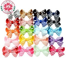 Wholesale Ribbon Hairclips - 8CM baby ribbon bows WITH clip hairclips,hair accessories boutique bows,girls chevron bow,Girl hairbow Alligator clip