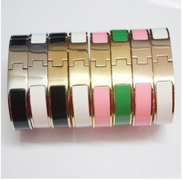Wholesale Titanium Bracelet Singapore - 316L Hot Sale Titanium Steel Men Love H bangles & 12MM bracelets Yellow gold Rose gold Silver Metal colors Fashion Jewelry