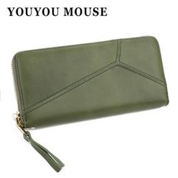 Wholesale Irregular Pattern - YOUYOU MOUSE Fashion Style Wallet Irregular Splicing Pattern Solid Purse Wallet Women Long Zipper PU Leather Multi-Bit Wallets