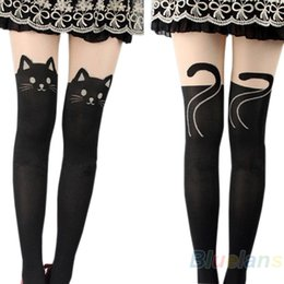 Wholesale Tattoo Knee Socks - Wholesale- 2016 hotSexy Women Cat Tail Gipsy Mock Knee High Hosiery Pantyhose Panty Hose Tattoo Tights 000C 8QC7