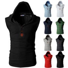 Wholesale Men Sleeveless Hoodies - Men's New Fashion Sleeveless Hoodies Cotton T Shirt Hoodied Tank Top with Cap Hoodies Tee Shirt Vest Men Sweatshirts Casual T Shirt XN 9181