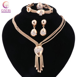 Wholesale earrings indian tassel - Women Gold plated Tassels Jewelry Sets Trendy With Bracelet Earrings Statement Necklace For Party Wedding Boho Crystal Necklace