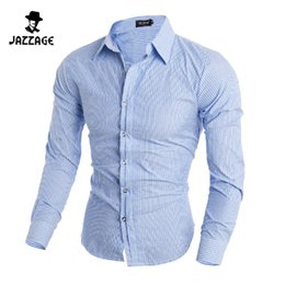 Wholesale Cheap Xxl Dresses - Wholesale- Men Shirt Long Sleeves 2016 Brand Shirts Men Casual Male Slim Fit Stripe Chemise Mens Camisas Dress Shirts Cheap Clothes XXL