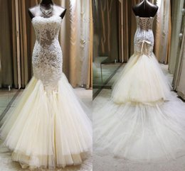 Wholesale White Ruffle Layered Skirts - 2017 Hot Ivory Mermaid Wedding Dresses Sweetheart Neck Lace Appliques Beaded Layered Skirt Gorgeous Bridal Gowns vestido de noiva Outdoor