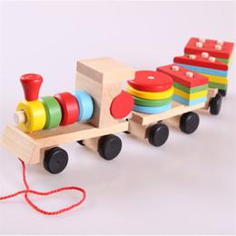 Wholesale Wood Shapes Geometric - Wholesale- kids puzzle Montessori Geometric Shape build wooden toys children Train Vehicle Set Combination Educational gift Toys CU38