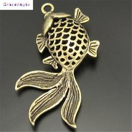 Wholesale Vintage Brass Findings - GraceAngie 10PCS Vintage Style Bronze Tone Brass Goldfish Pendant Charm Jewelry Finding 30*24mm 03751