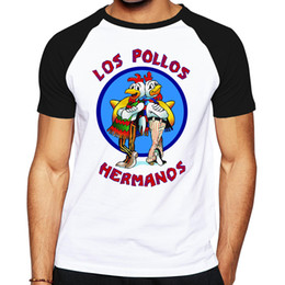 Wholesale Distressed T Shirts - Wholesale- Brand Quality Breaking Bad LOS POLLOS HERMANOS t shirt Tees Distressed Walter White Heisenberg AMC TV Show T-shirt Tops For Men