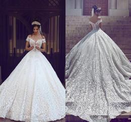 Cheap white luxury church sheer wedding dress - Sexy Cathedral Train 3D Applique Ball Gown Wedding Dresses 2017 Modest Dubai Arabic Off-shoulder Luxury Princess Church Garden Wedding Dress