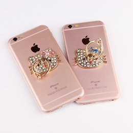 Wholesale Iphone Swan - Universal Bling Stand Holder Diamond Peacock Hello Kitty Swan Camellia 360 Degree Finger Ring Holder For iPhone Huawei Samsung